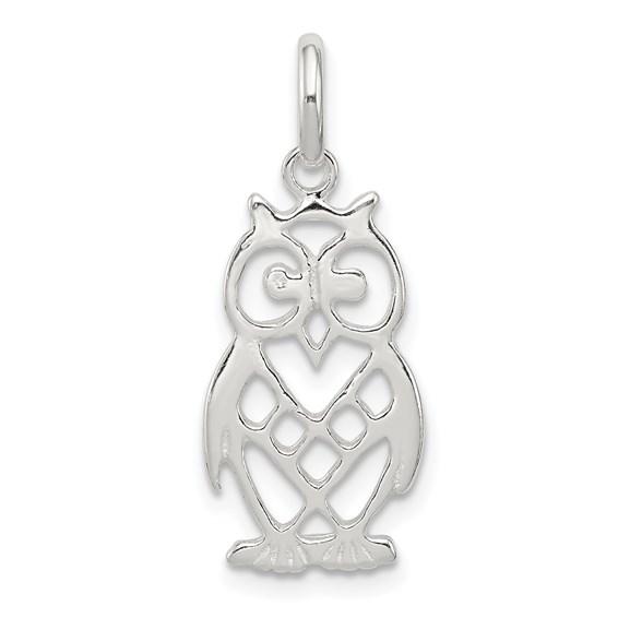 Sterling Silver Pierced Owl Charm