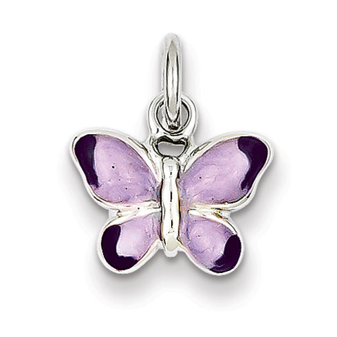 Sterling Silver Enameled Purple Butterfly Charm