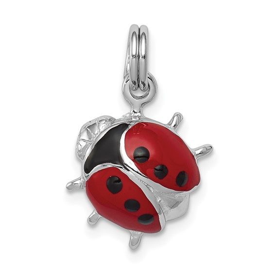 Sterling Silver Enameled Red Ladybug Charm