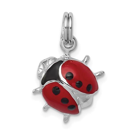 Sterling Silver Enameled Red Ladybug Charm