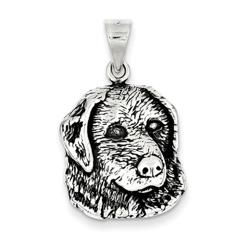 Sterling Silver 3/4in Antiqued Dog Head Charm