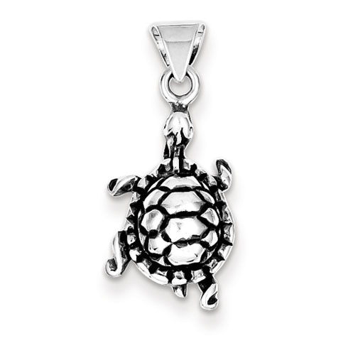 Sterling Silver 11/16in Antiqued Walking Turtle Charm