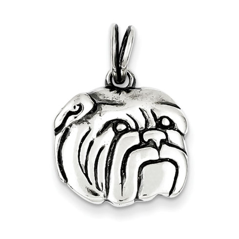 Sterling Silver 9/16in Antiqued Bulldog Charm
