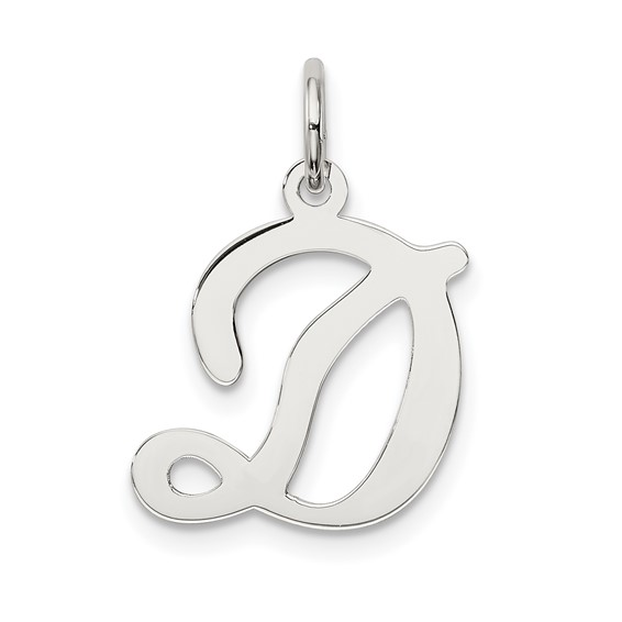 Sterling Silver Stamped D Charm