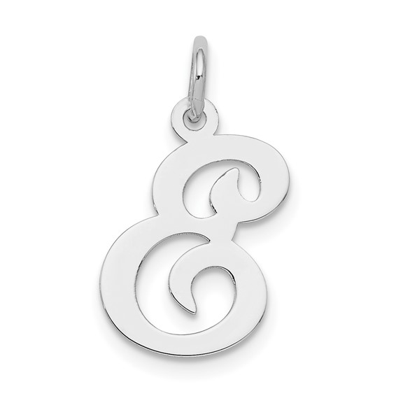 Sterling Silver Stamped E Charm