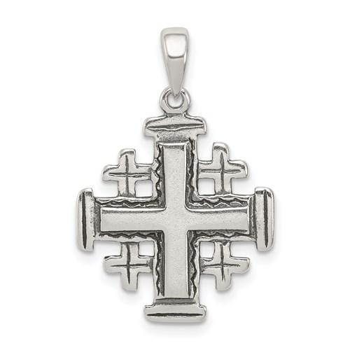 Sterling Silver 11/16in Jerusalem Crusader Cross