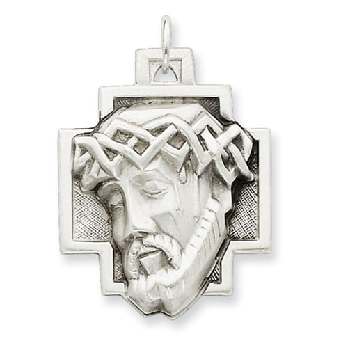 Sterling Silver 1 1/8in Hollow Jesus Pendant