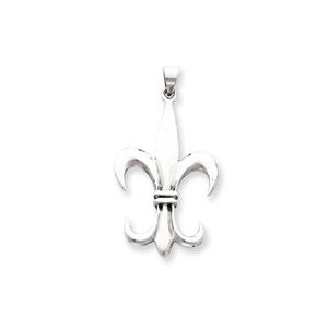 Sterling Silver 1 3/4in Fleur de lis Pendant
