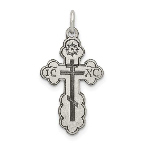 Sterling Silver 3/4in Antiqued Eastern Orthodox Cross Charm
