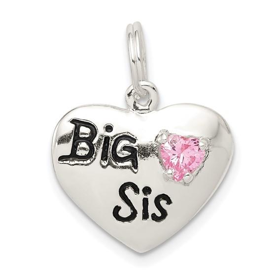 Sterling Silver Big Sis CZ Heart Charm