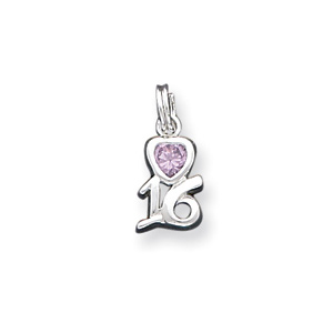 Sterling Silver Pink CZ Sixteen Charm