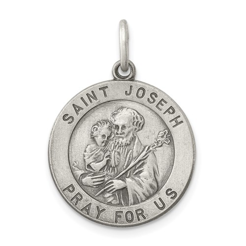 Sterling Silver 11/16in Round St. Joseph Medal