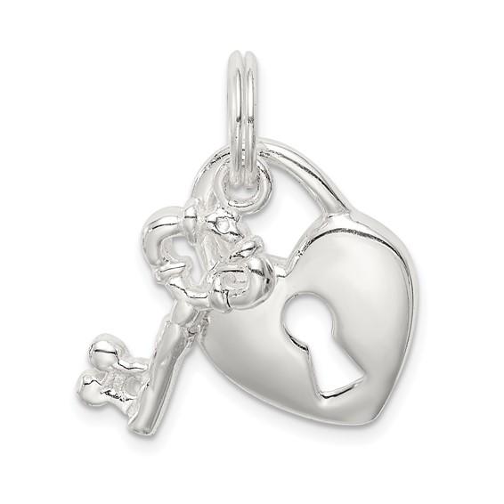 5/8in Sterling Silver Heart & Key Charm