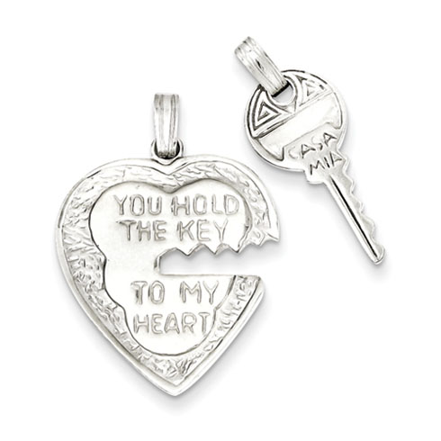 Heart and Key Charms 7/8in - Sterling Silver