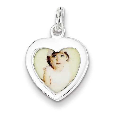 Sterling Silver Heart Photo Charm
