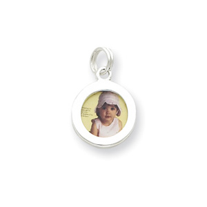 Sterling Silver Round Photo Charm
