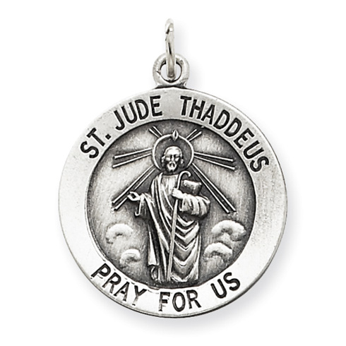 Sterling Silver Round Antiqued St. Jude Thaddeus Medal 3/4in