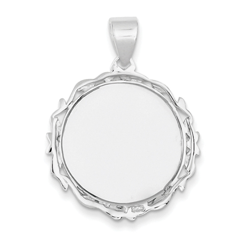 Sterling Silver Round Pendant with Fancy Border 1in