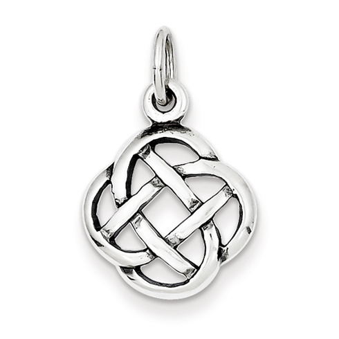 Sterling Silver 1/2in Antiqued Celtic Knot Charm