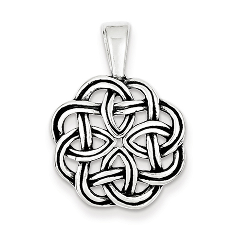 Sterling Silver 3/4in Antiqued Celtic Pendant