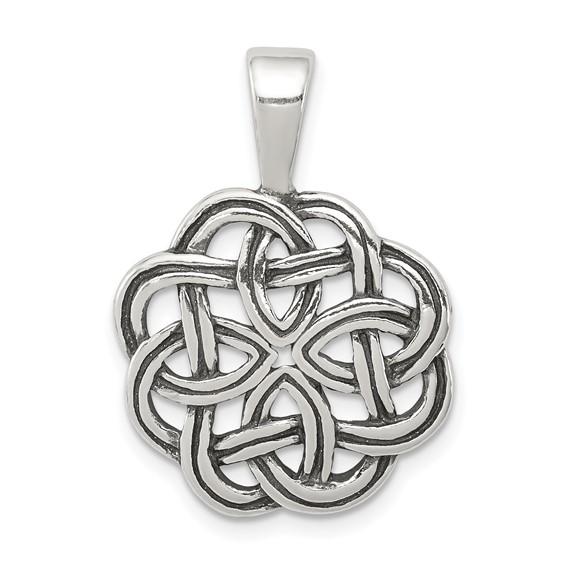 Sterling Silver 3/4in Antiqued Celtic Pendant