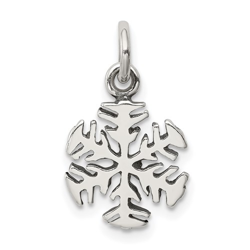 Antique Snowflake Charm - Sterling Silver