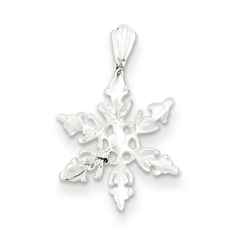 Sterling Silver 1/2in Diamond Cut Snowflake Charm