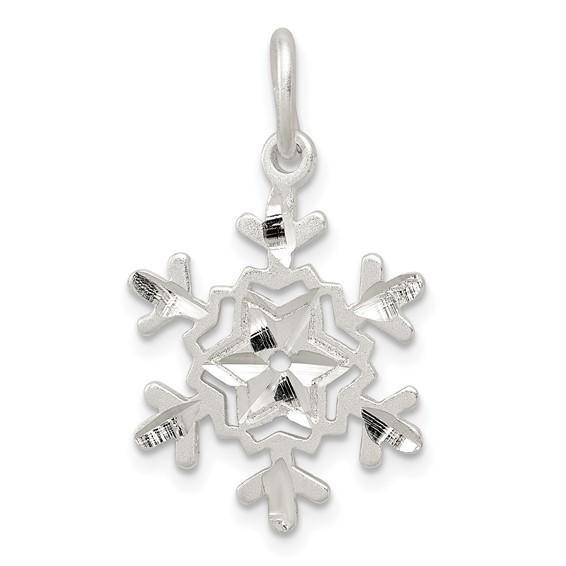 Sterling Silver Diamond Cut Snowflake Charm
