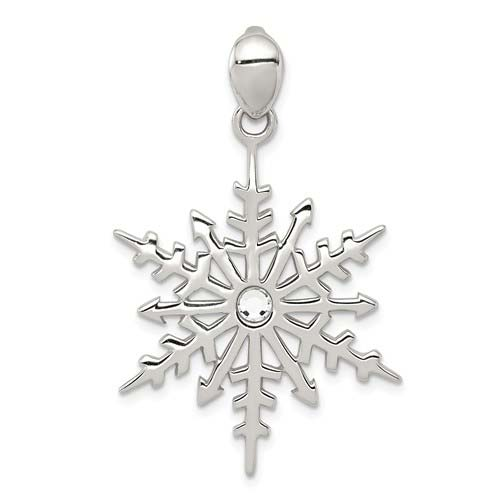 Sterling Silver Snowflake Pendant with Crystal