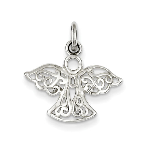 Sterling Silver 1/2in Filigree Angel Charm