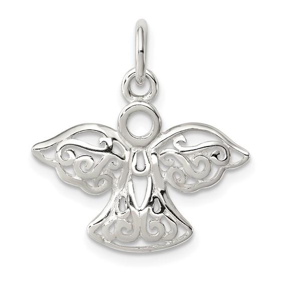 Sterling Silver 1/2in Filigree Angel Charm