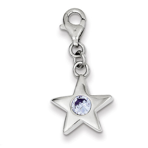 Sterling Silver June CZ Birthstone Star Charm