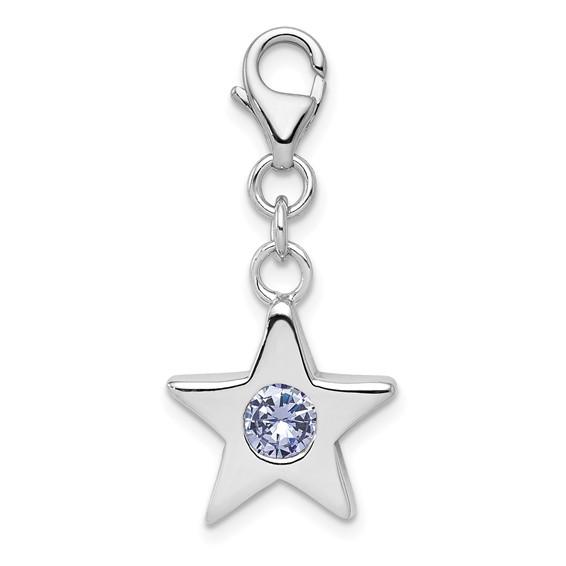 Sterling Silver June CZ Birthstone Star Charm