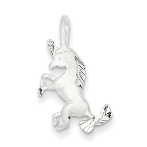 Rearing Unicorn Charm - Sterling Silver