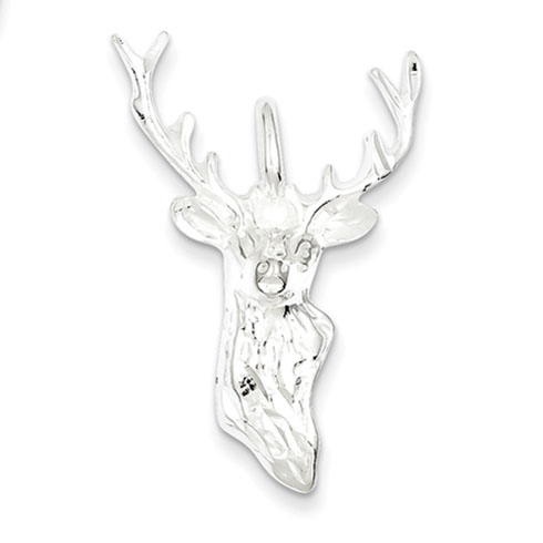 Sterling Silver Diamond Cut Bust of Buck Pendant