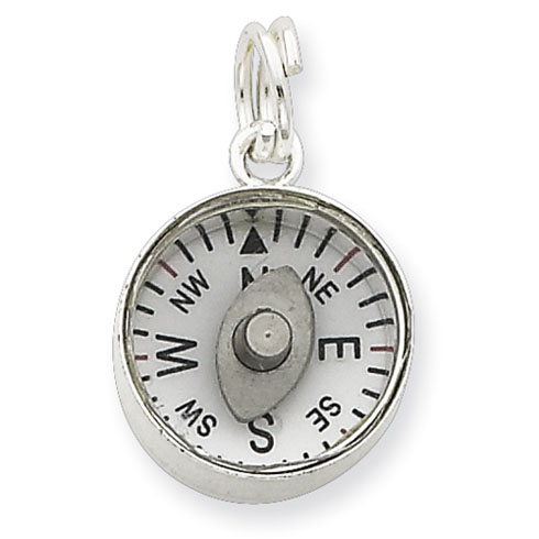 Sterling Silver 3D Moveable Compass Charm