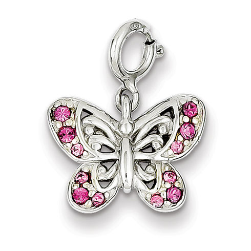 Sterling Silver 3/8in Pink Cubic Zirconia Butterfly Charm
