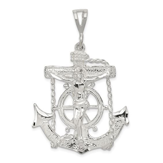 Sterling Silver 1 1/2in Mariner's Cross Pendant