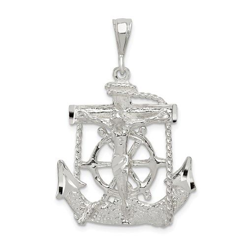Sterling Silver 1 1/8in Mariner's Cross