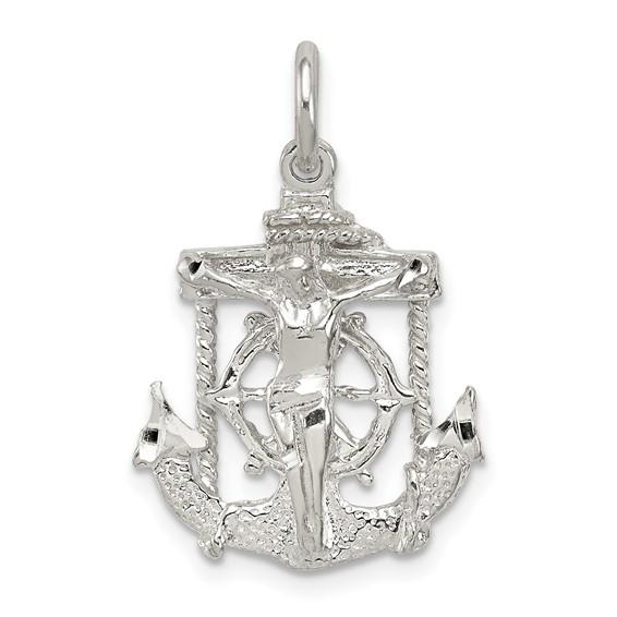 Sterling Silver 11/16in Diamond-cut Mariner Cross