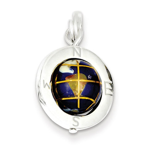 Sterling Silver Enameled Globe Charm