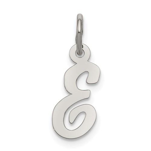Sterling Silver Small Script Initial E Charm