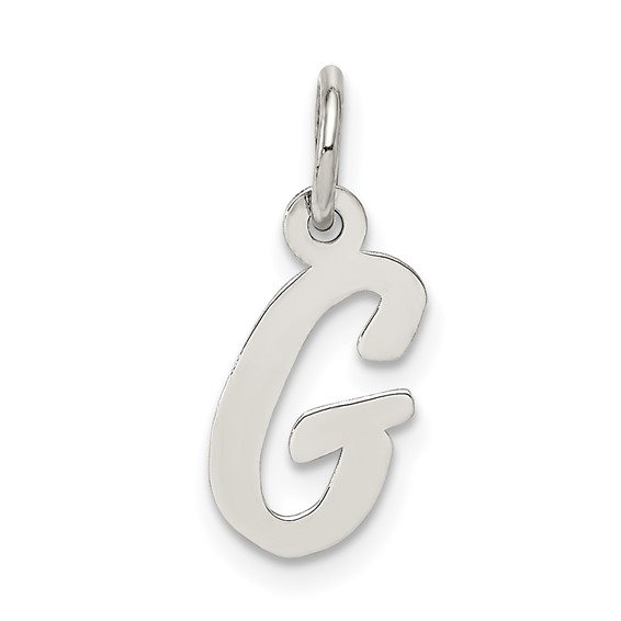 Sterling Silver Small Script Intial G Charm