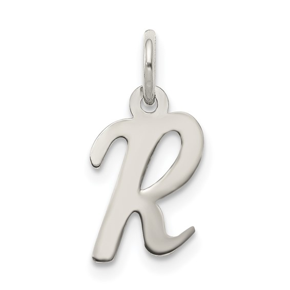 Sterling Silver Small Script Initial R Charm