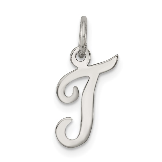 Sterling Silver Small Script Initial T Charm