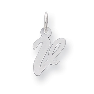 Sterling Silver Small Script Initial V Charm