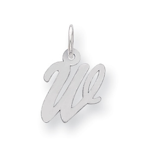 Sterling Silver Small Script Initial W Charm