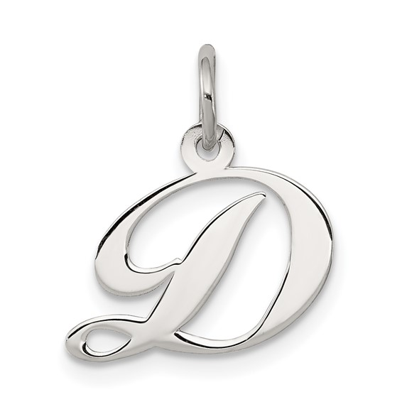 Sterling Silver Small Fancy Script Initial D Charm