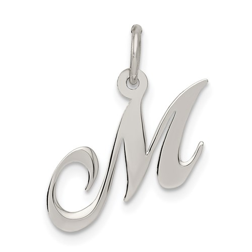 Sterling Silver Small Fancy Script Initial M Charm