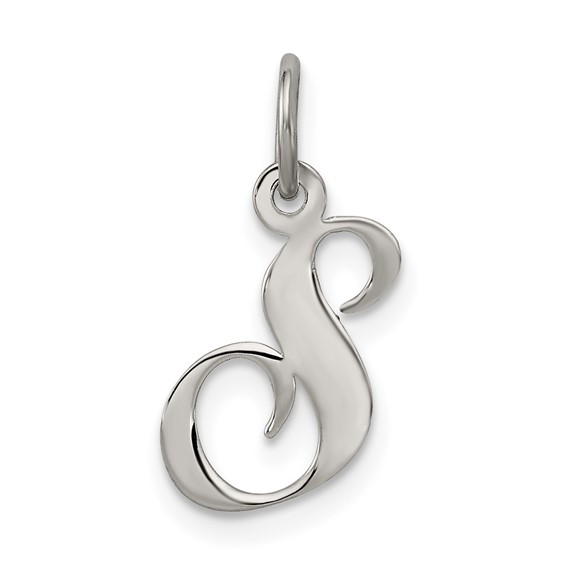 Sterling Silver Small Fancy Script Initial S Charm